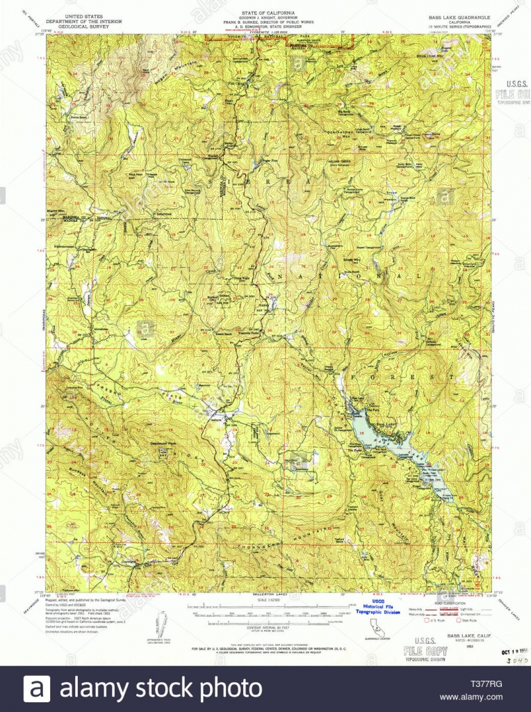Usgs Topo Map California Ca Bass Lake 296781 1953 62500 Restoration - Bass Lake California Map