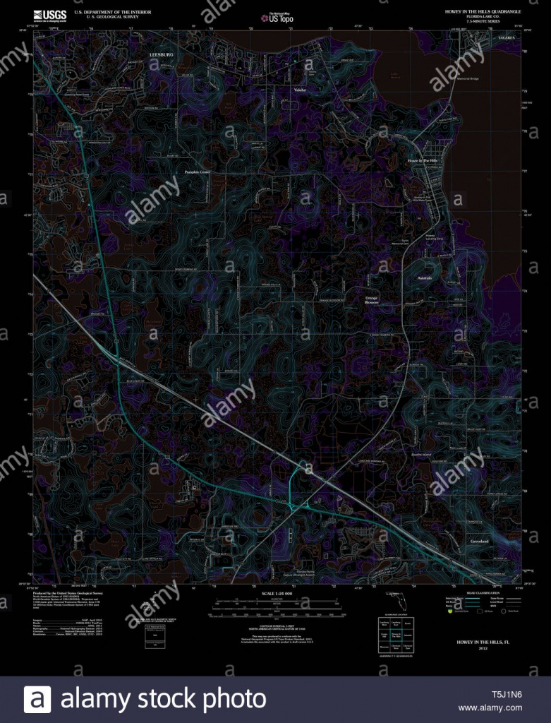 Usgs Topo Map Florida Fl Howey In The Hills 20120724 Tm Inverted - Howey In The Hills Florida Map