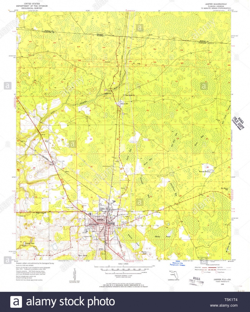 Usgs Topo Map Florida Fl Jasper 346843 1955 24000 Restoration Stock - Jasper Florida Map