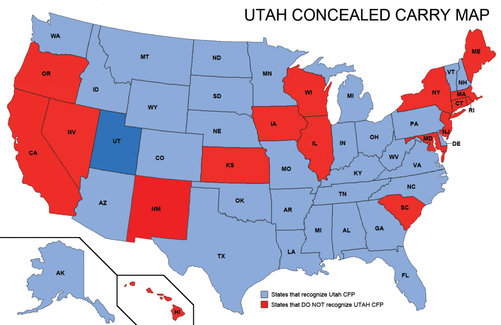 Utah Concealed Weapons Permit Reciprocity Map | Misc | Concealed - Florida Non Resident Ccw Reciprocity Map