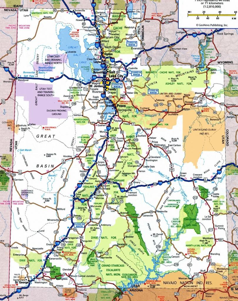 Utah Road Map - Utah State Map Printable
