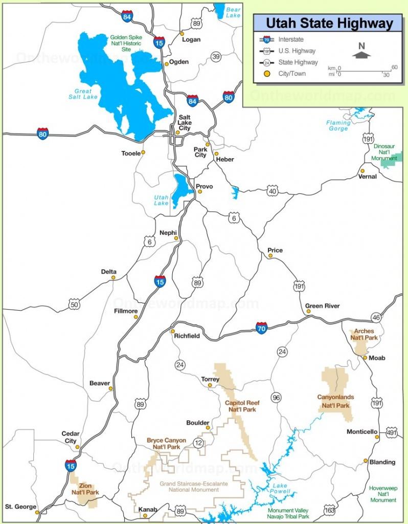 Utah State Maps | Usa | Maps Of Utah (Ut) - Utah Road Map Printable