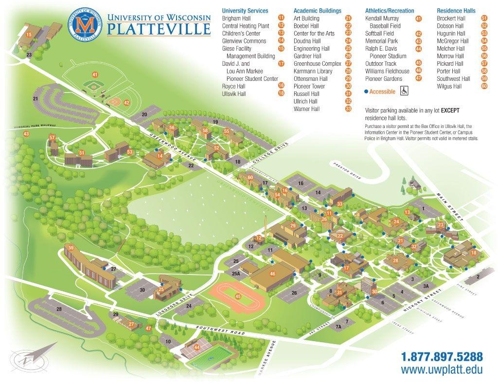 Uw-Platteville Campus Map   Campus Life   Campus Map, College - Printable Uw Madison Campus Map