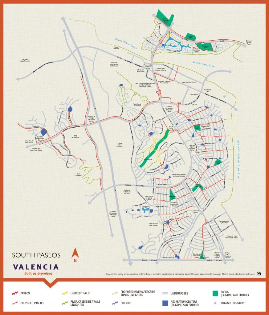 Valencia Paseo System And Map - Valencia Santa Clarita Ca - Valencia California Map