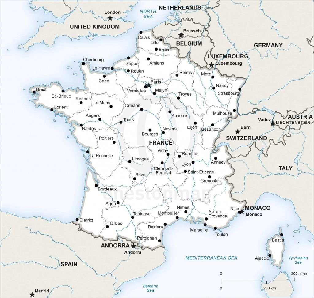 Vector Map Of France Political | One Stop Map - Printable Map Of France