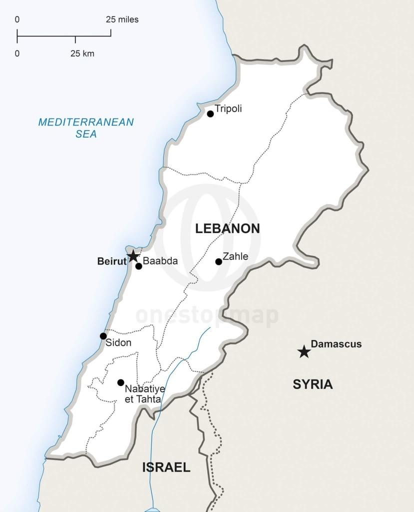 Vector Map Of Lebanon Political   One Stop Map - Printable Map Of Lebanon
