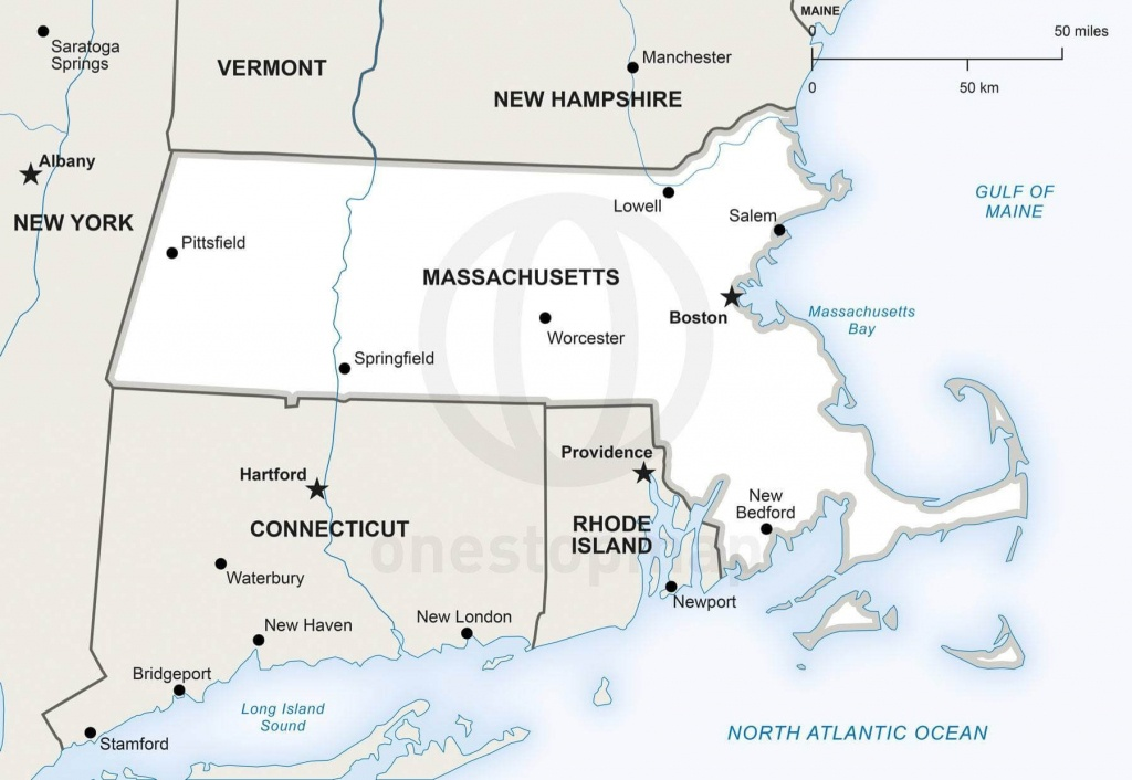 Vector Map Of Massachusetts Political | One Stop Map - Printable Map Of Massachusetts