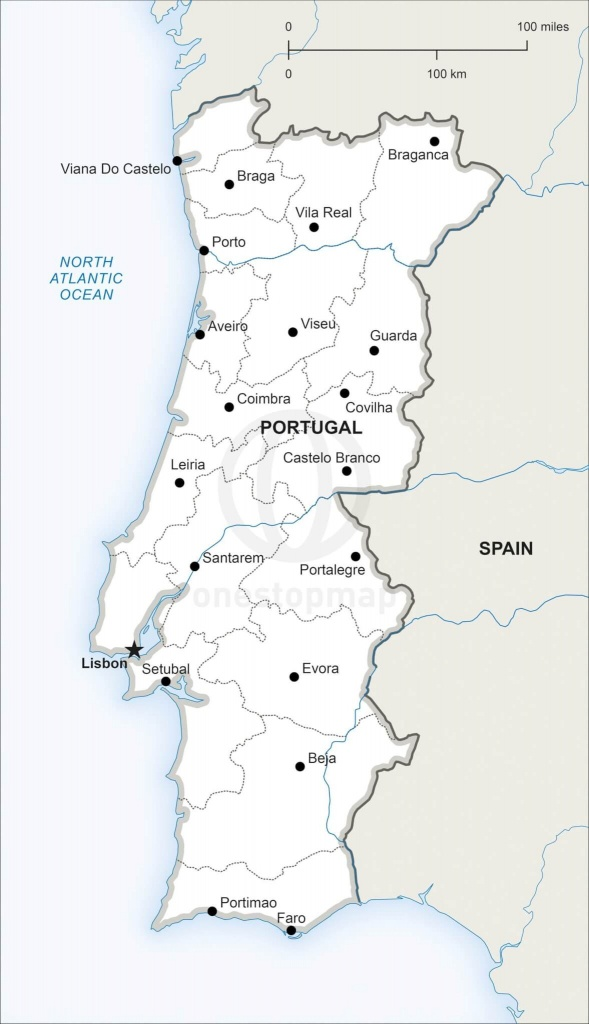 Vector Map Of Portugal Political | One Stop Map - Printable Map Of Portugal