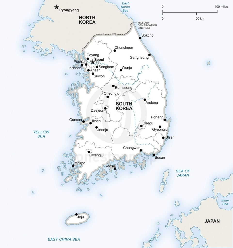 Vector Map Of South Korea Political | One Stop Map - Printable Map Of Korea