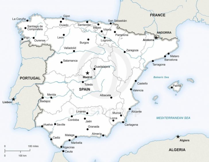 Printable Map Of Spain With Cities