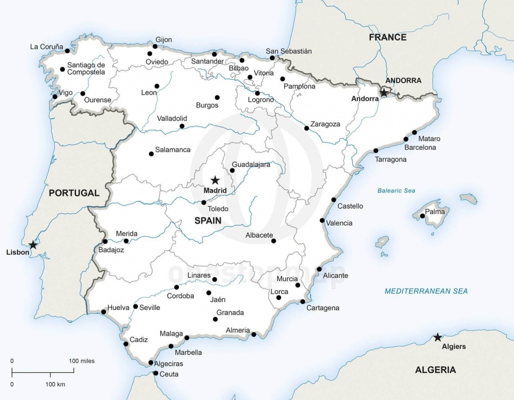 Vector Map Of Spain Political | One Stop Map - Printable Map Of Spain