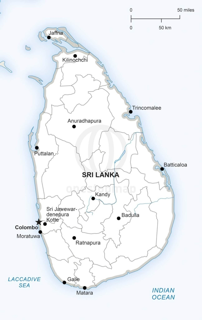 Vector Map Of Sri Lanka Political | One Stop Map - Printable Map Of Sri Lanka