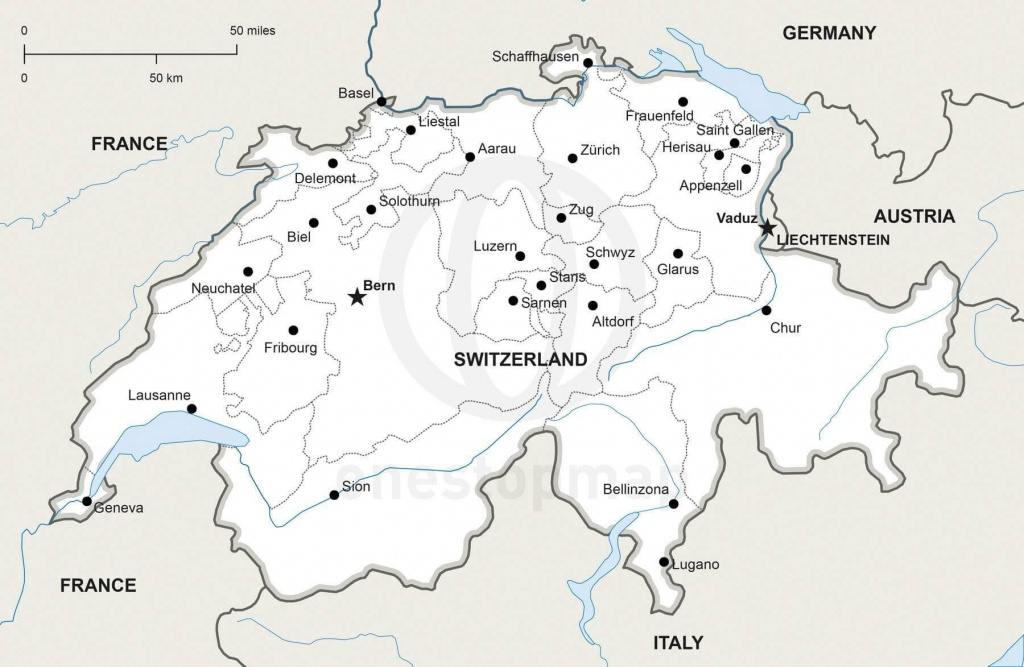 Vector Map Of Switzerland Political | One Stop Map - Printable Map Of Switzerland
