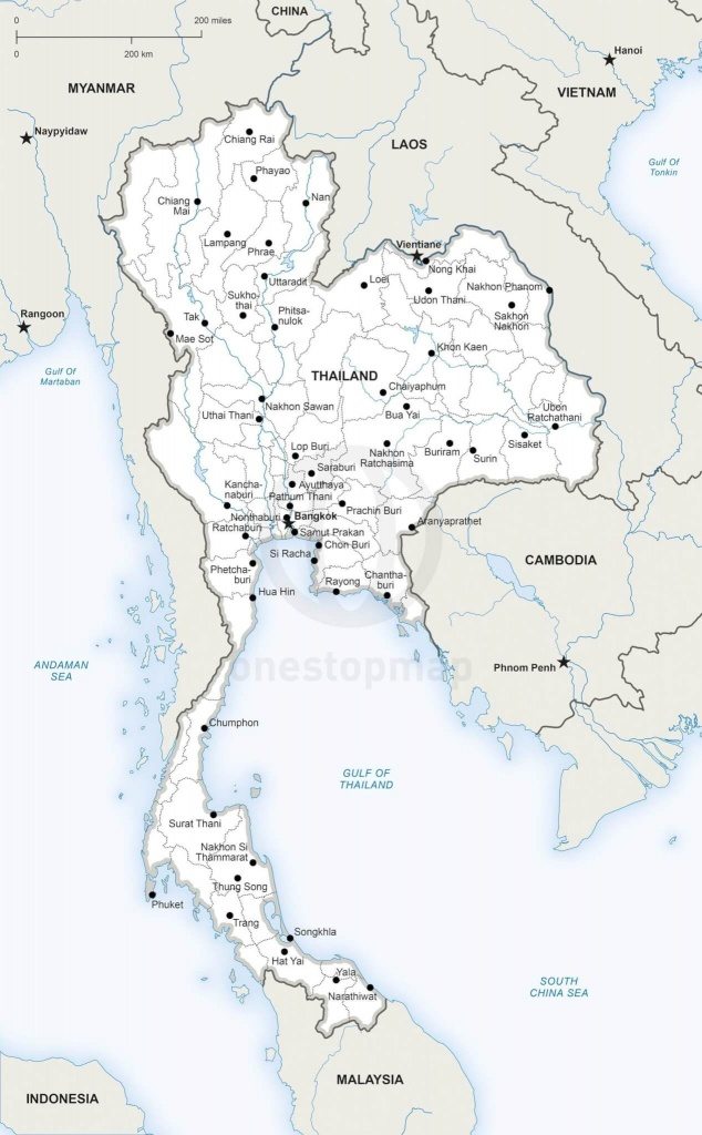Vector Map Of Thailand Political | One Stop Map - Printable Map Of Thailand