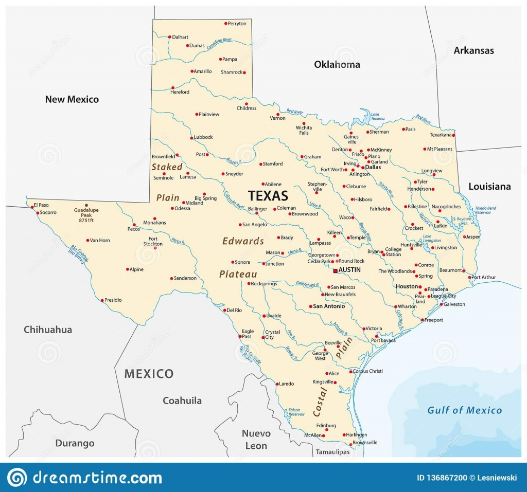 Vector Map Of The U.s. State Of Texas Stock Vector - Illustration Of - Pampa Texas Map