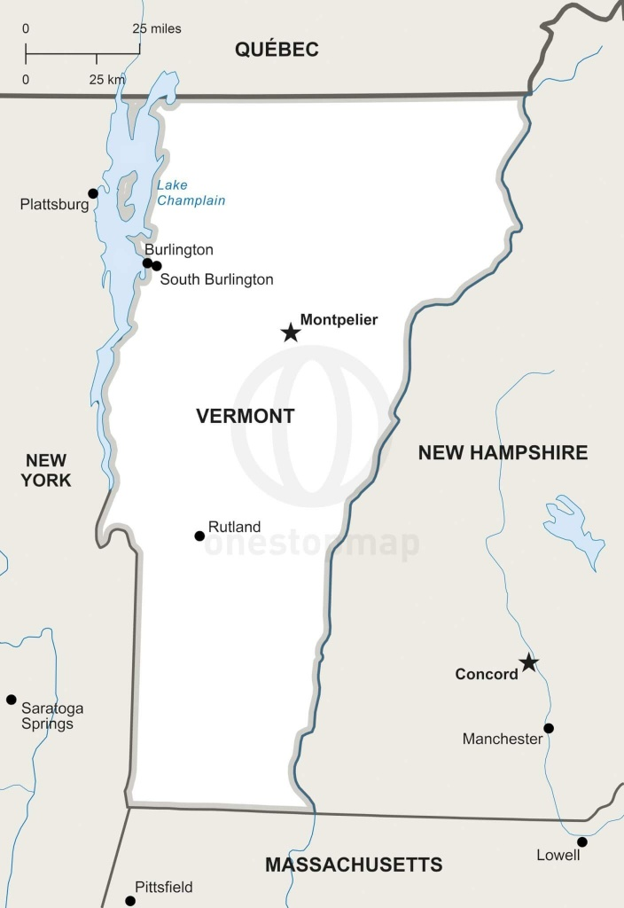 Vector Map Of Vermont Political | One Stop Map - Printable Map Of Vermont