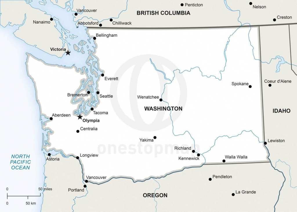 Vector Map Of Washington Political | One Stop Map - Printable Map Of Washington State