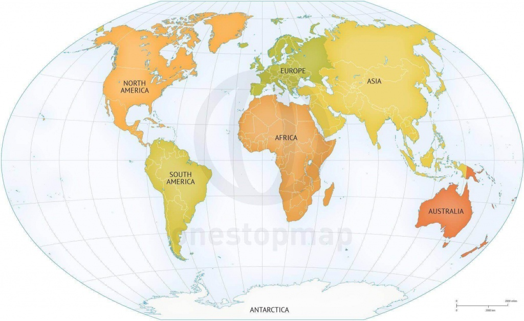 Vector Map Of World Continents Political | One Stop Map - Printable Map Of Continents