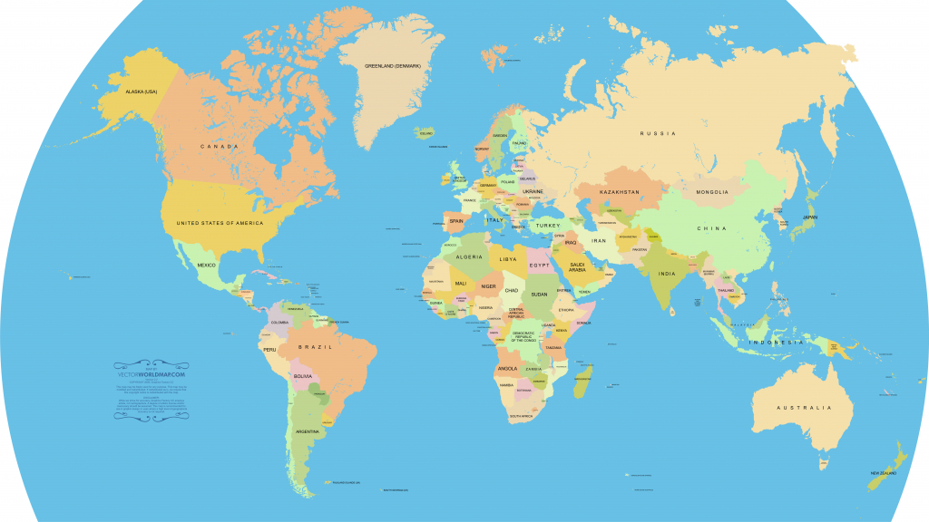 Vector World Map: A Free, Accurate World Map In Vector Format - Flat Map Of World Printable
