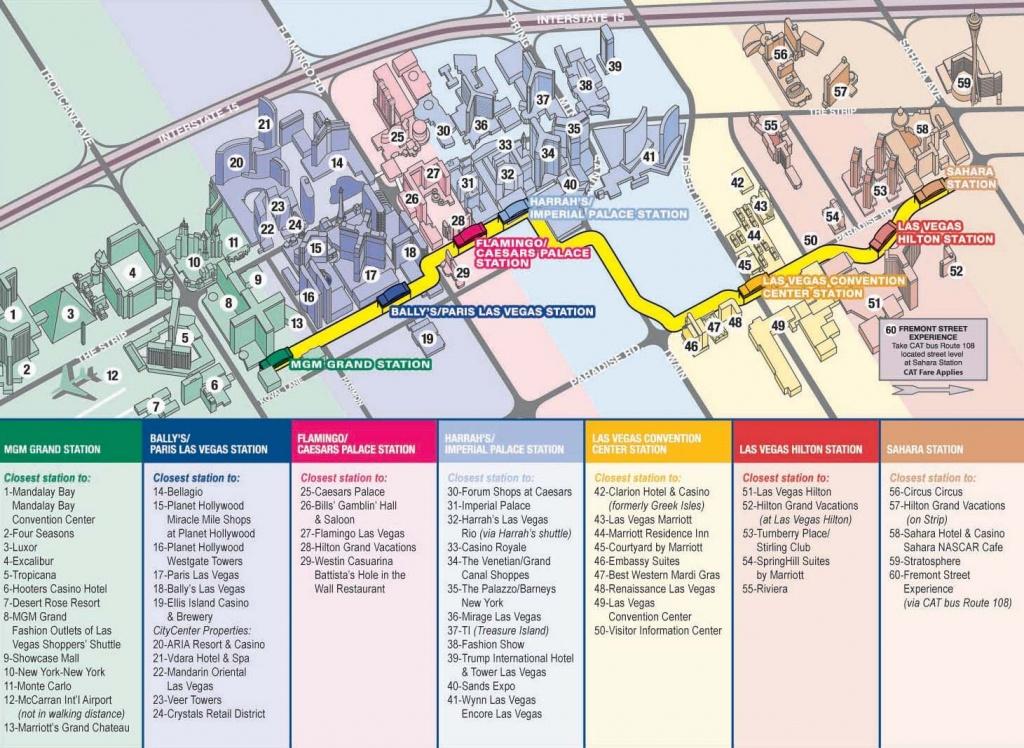 Vegas Monorail Map 2012    Vegas Convention Center Station Las - Map Of Las Vegas Strip Hotels Printable
