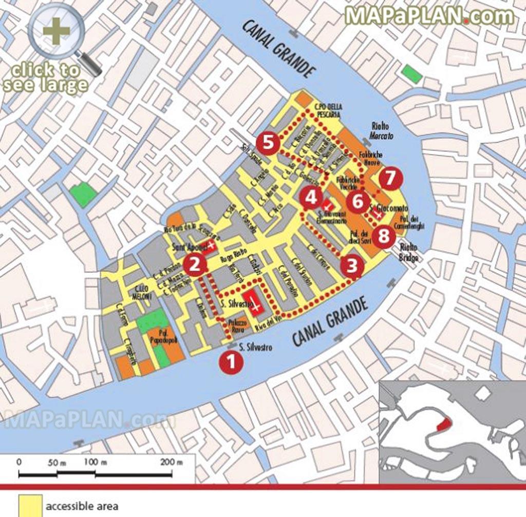 Venice Top Tourist Attractions Map Explore Rialto Market Major - Printable Walking Map Of Venice Italy