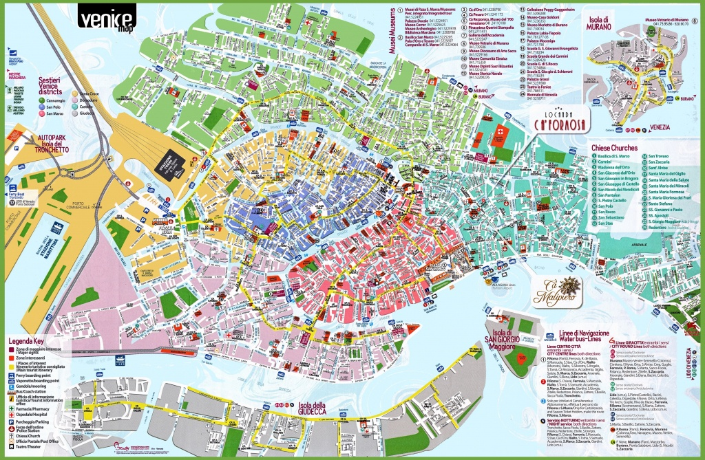 Venice Tourist Attractions Map Spectacular Printable Street Map Of - Printable Street Maps