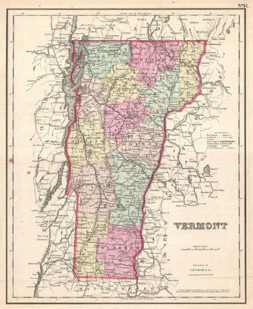 Vermont Map Poster, Canvas, Print Sales - Printable Map Of Vermont