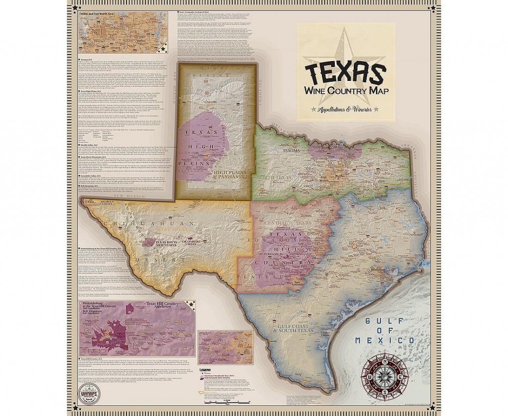 Vinmaps Texas Wine Country Map, Appellations & Wineries Review - Hill Country Texas Wineries Map