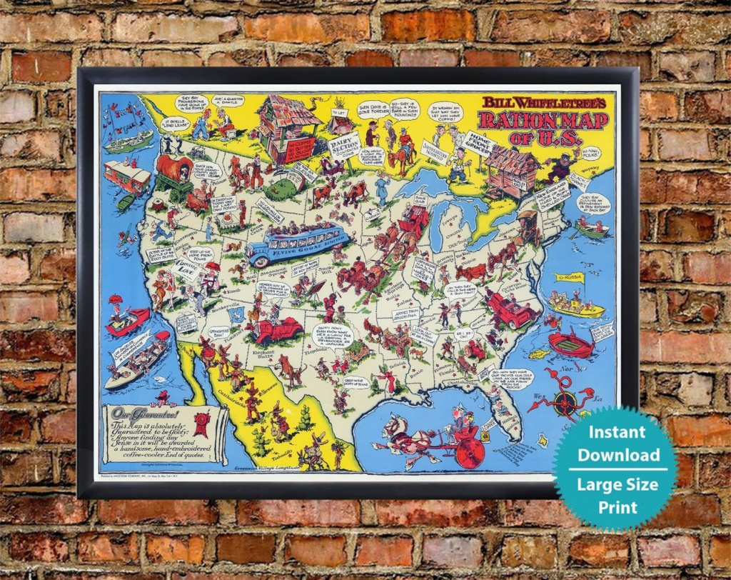 Vintage 1944 Us Map Print Historical Map Usa Wwii Digital | Etsy - Us Quarter Map Printable