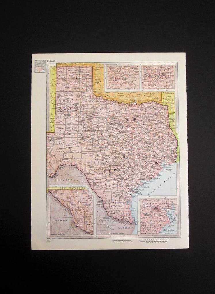 Vintage 1960 Texas Map / Map Wall Art / Office Decor / Texas   Etsy - Texas Map Wall Decor