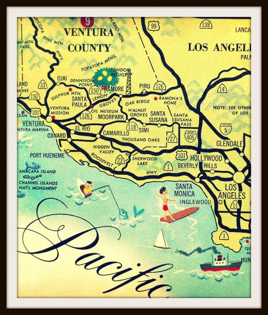Vintage California Art, Los Angeles Map, Santa Monica Map, Ventura - Map Of Mid California