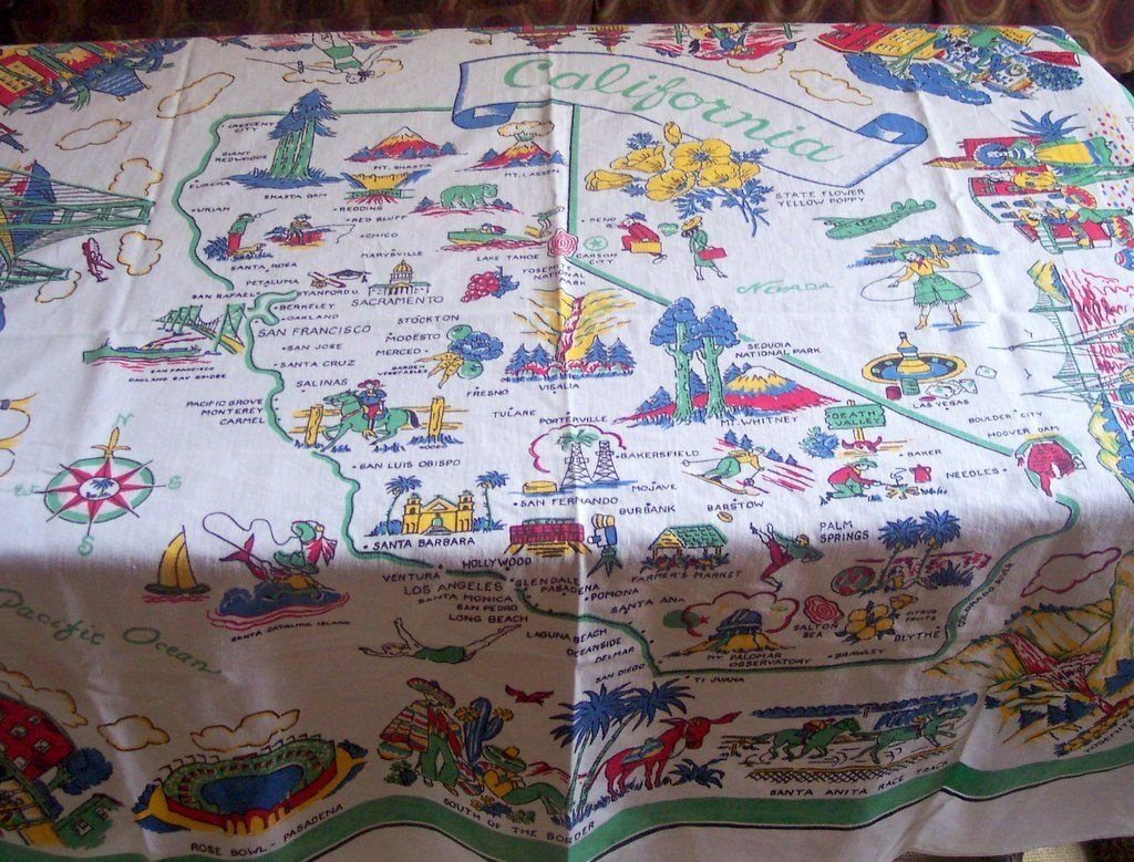 Vintage California State Tablecloth Pre-Disney 48 X 48 Mint And - Vintage California Map Tablecloth