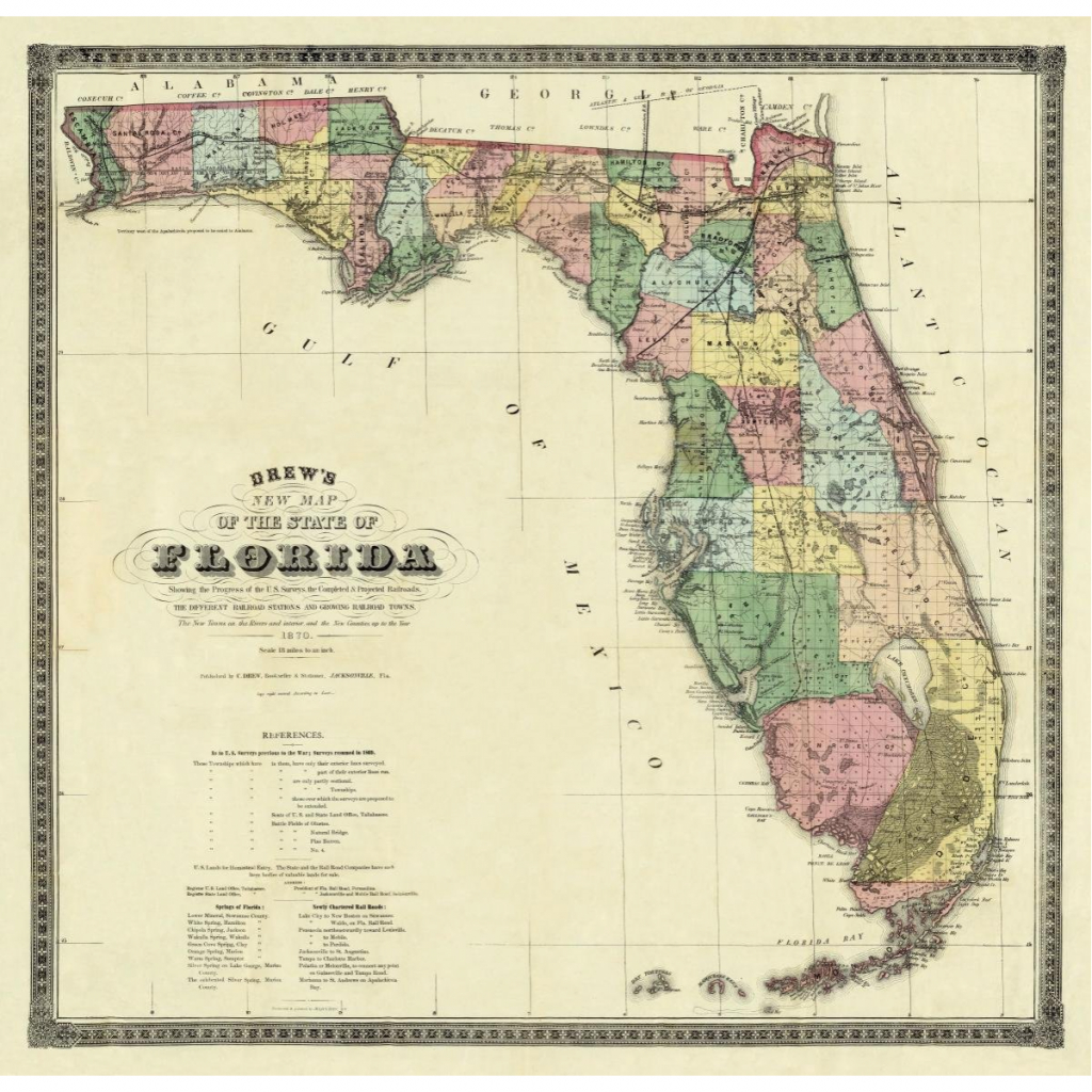Vintage Florida Map - 1870 - Antique Florida Map