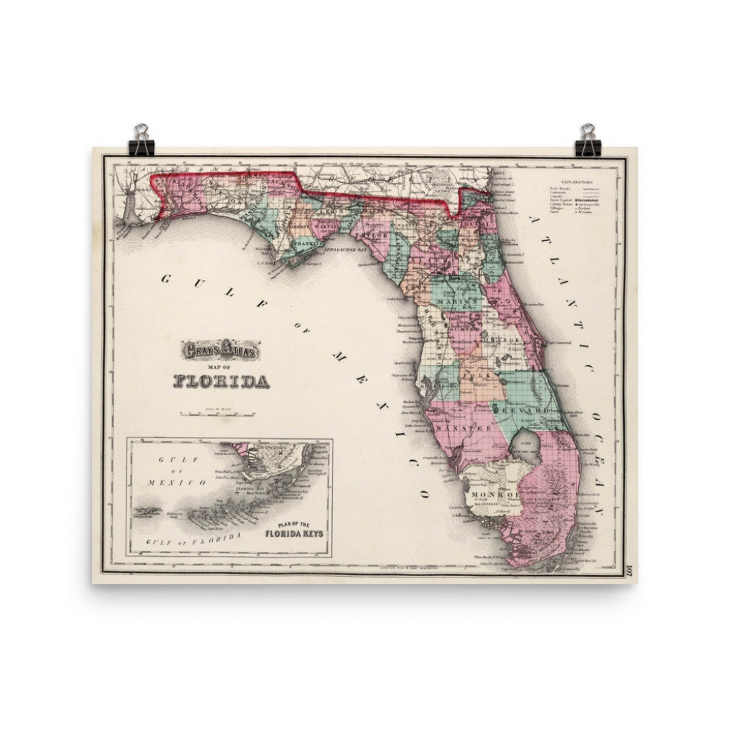 Vintage Florida Map 1873 Fl County Atlas Poster | Etsy - Vintage Florida Map Poster