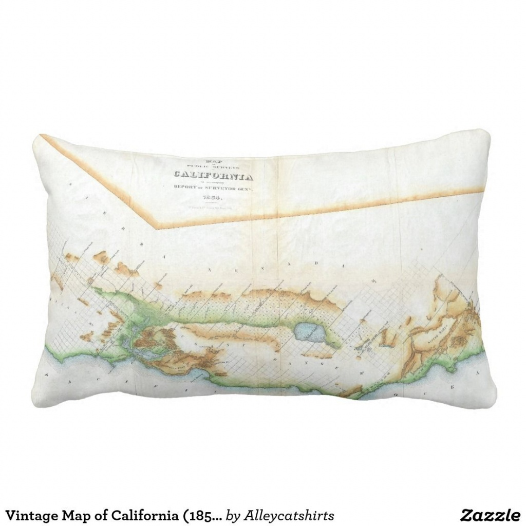 Vintage Map Of California (1854) Pillow | Pillows - California Map Pillow