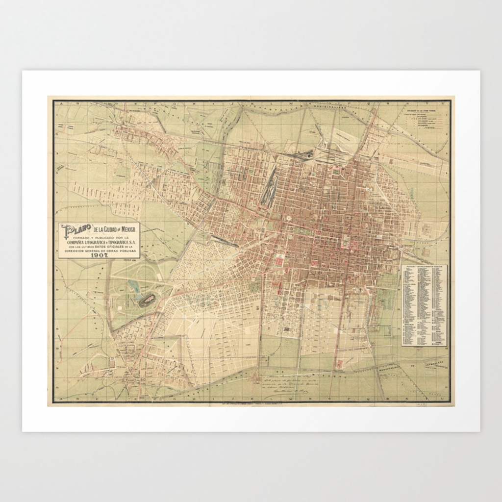Vintage Map Of Mexico City (1907) Art Printbravuramedia | Society6 - Printable Map Of Mexico City