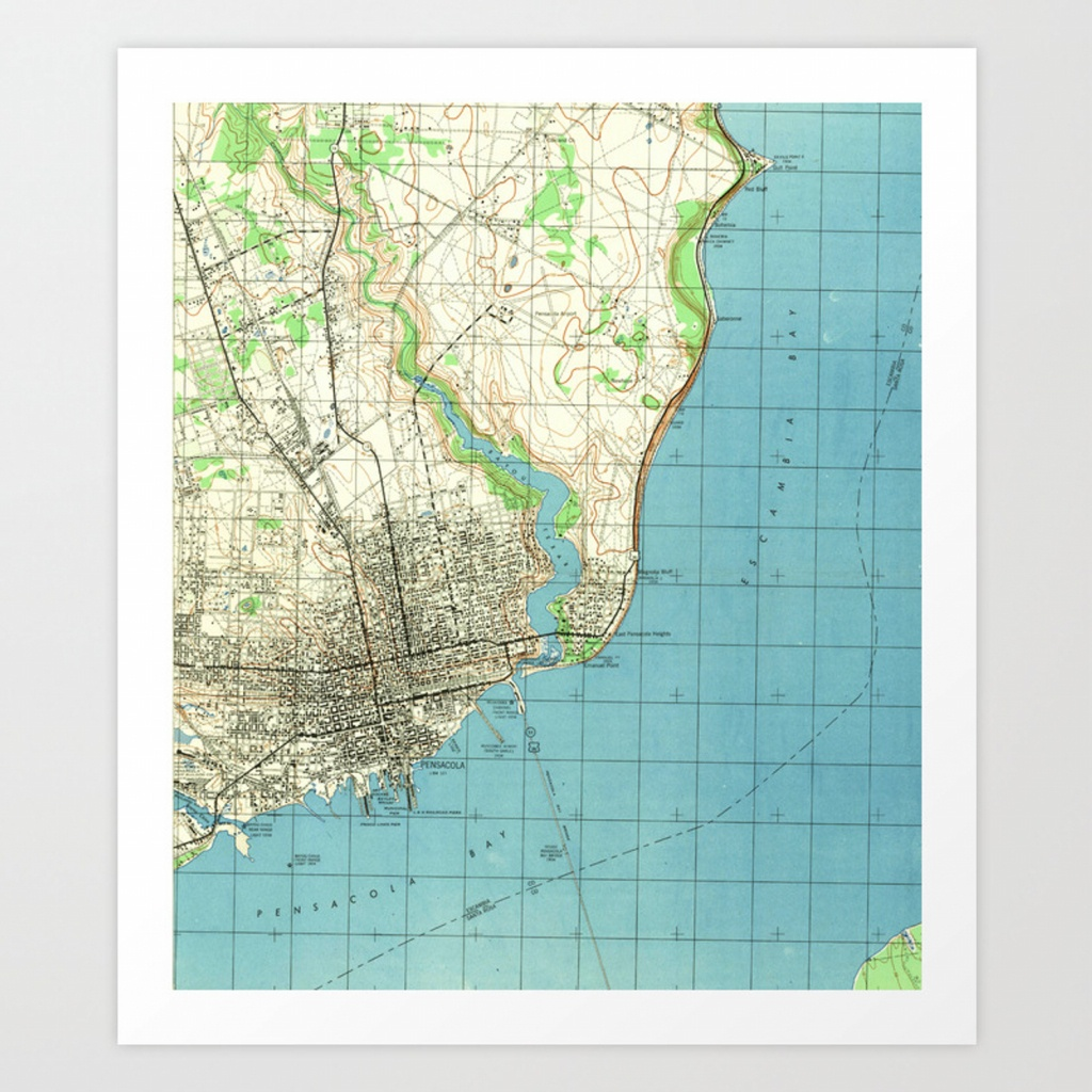 Vintage Map Of Pensacola Florida (1944) Art Print - Printable Map Of Pensacola Florida