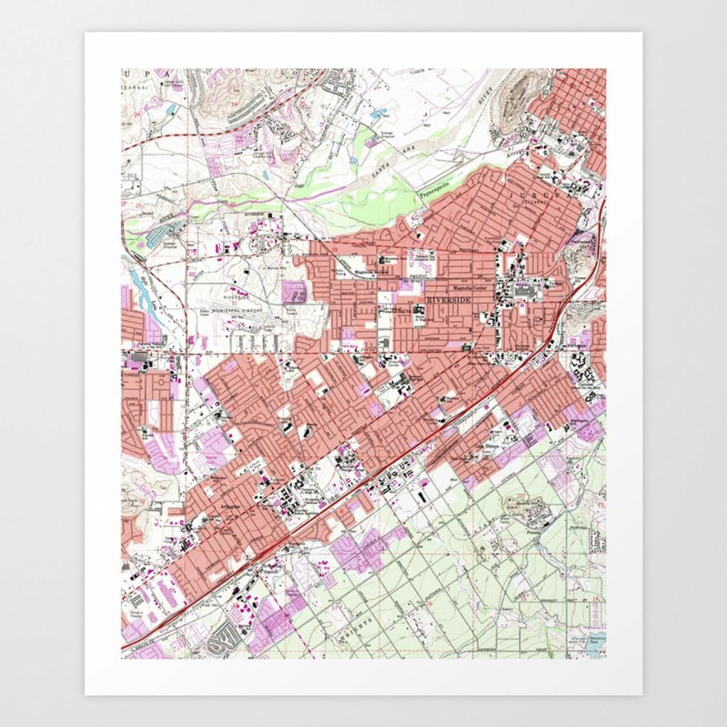 Vintage Map Of Riverside California (1967) Art Print - Riverside California Map