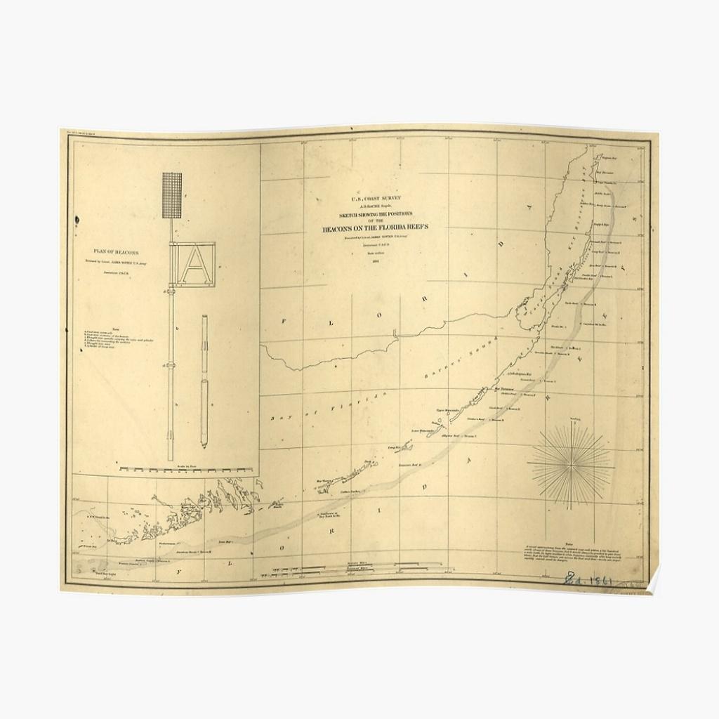 "Vintage Map Of The Florida Keys (1861)"" Posterbravuramedia - Florida Keys Map Poster"
