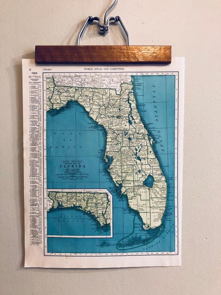 Vintage Maps Of Florida And Connecticut Original Antique Atlas | Etsy - Vintage Florida Maps For Sale