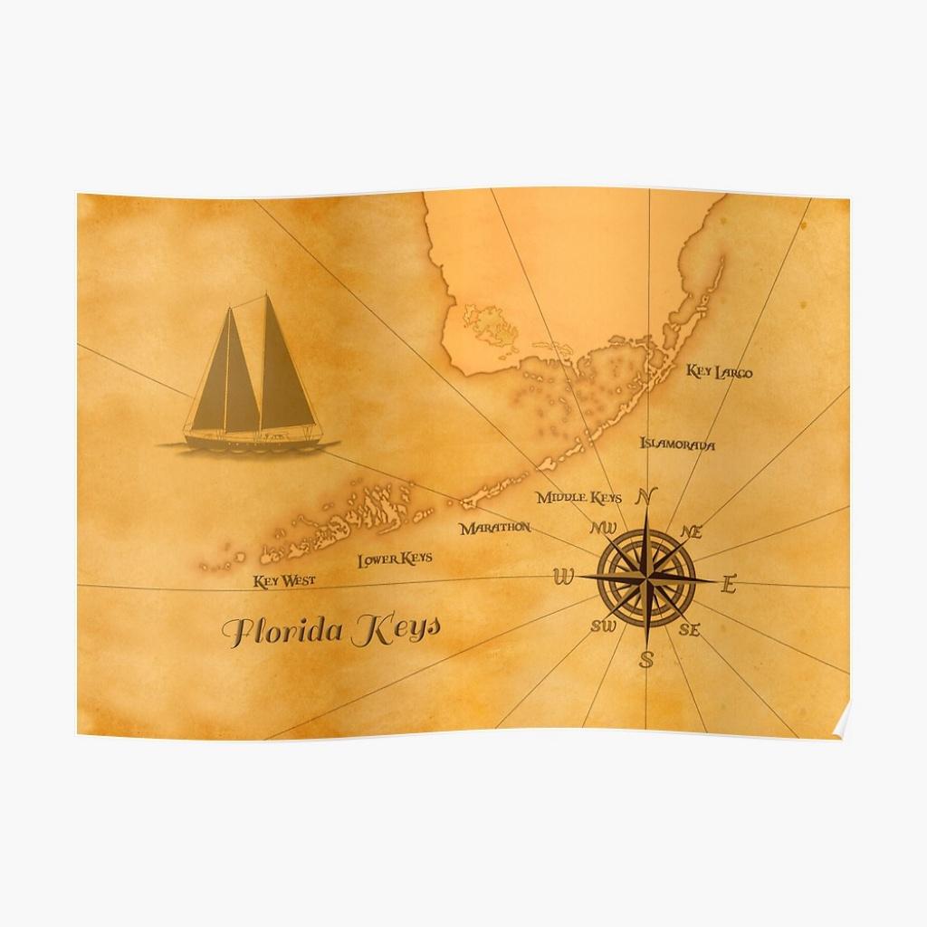 "Vintage Nautical Florida Keys Map"" Posterbailoutisland | Redbubble - Florida Keys Map Poster"