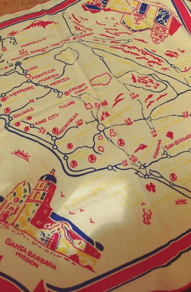 Vintage Soft Felt California Map Table Cloth   Etsy - Vintage California Map Tablecloth