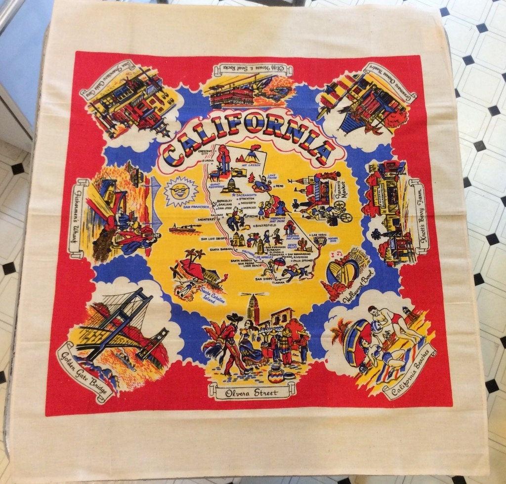 Vintage Souvenir Tablecloth 1950's California Sun N Fun   Etsy - Vintage California Map Tablecloth