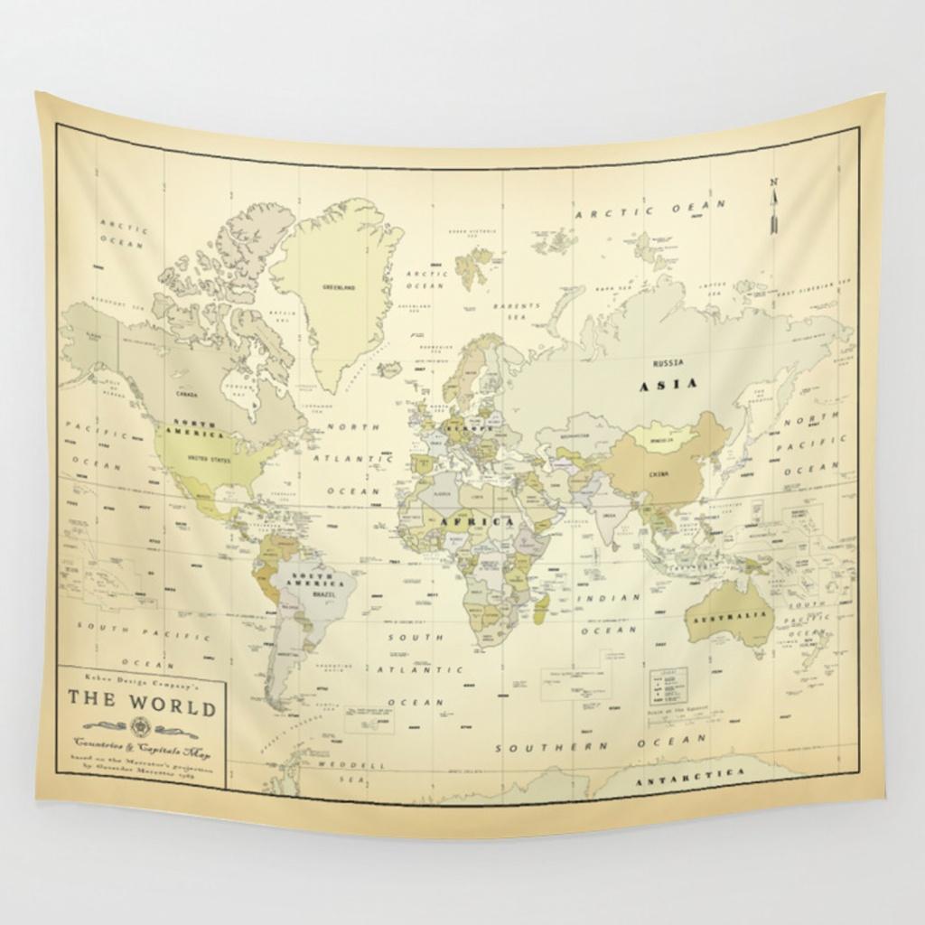 Vintage World Map Print Wall Tapestrykokuadesigncompany | Society6 - Vintage World Map Printable