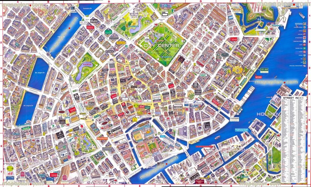 Virtual Interactive 3D Copenhagen Denmark City Center Free Printable - Copenhagen Tourist Map Printable