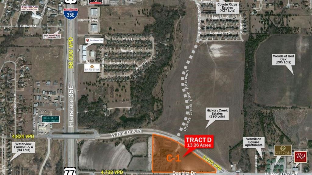 W Red Oak Rd & Daubitz Dr, Red Oak, Tx 75154 - Land For Sale - 13.26 - Red Oak Texas Map