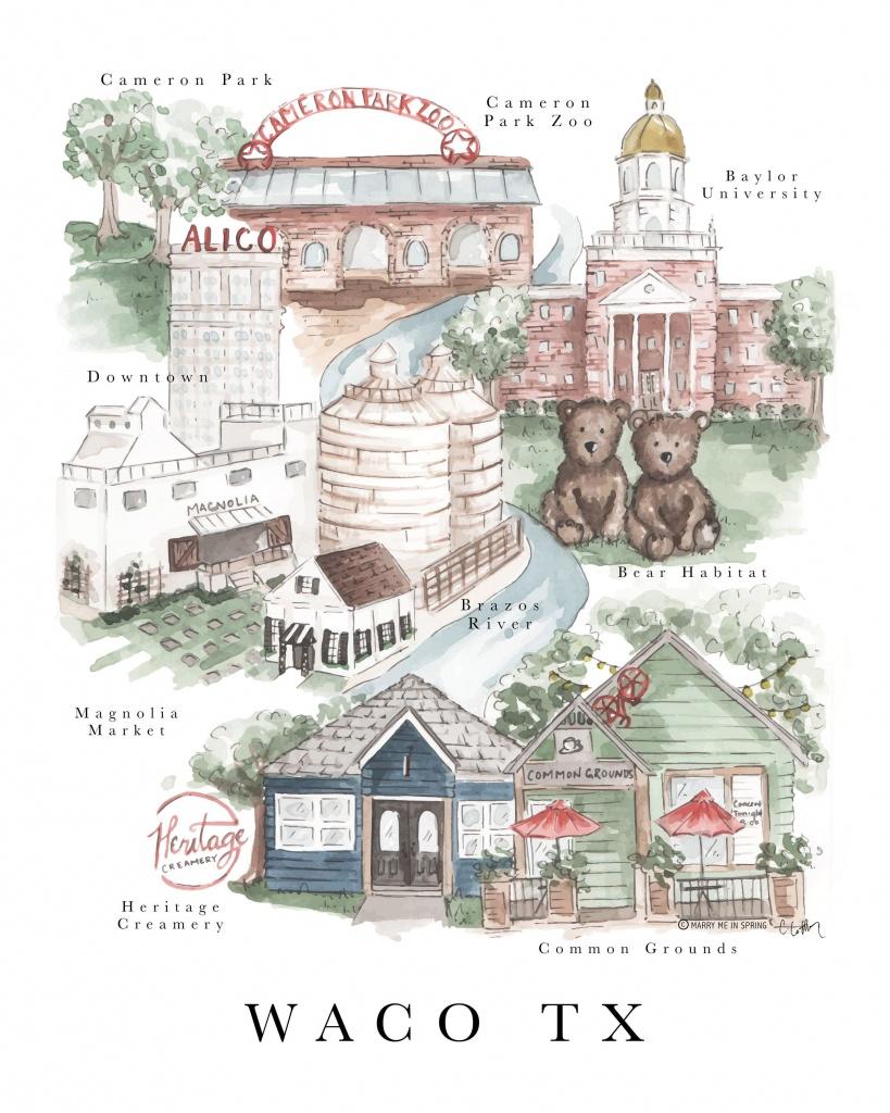 Waco Map Print (New)   Journaling Away   Waco Texas, Magnolia Journal - Magnolia Texas Map