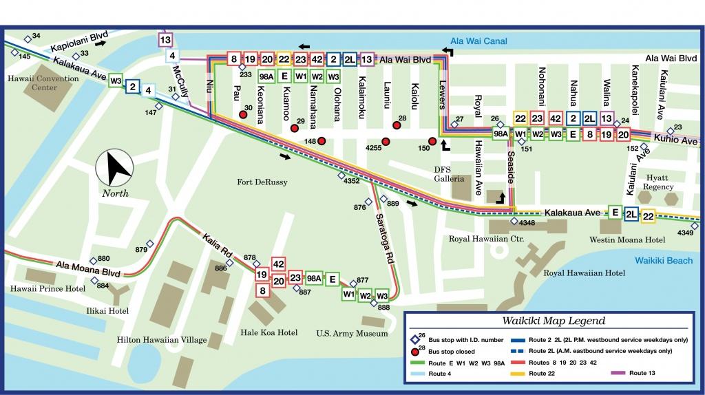Waikiki Bus Route Map - Printable Map Of Waikiki