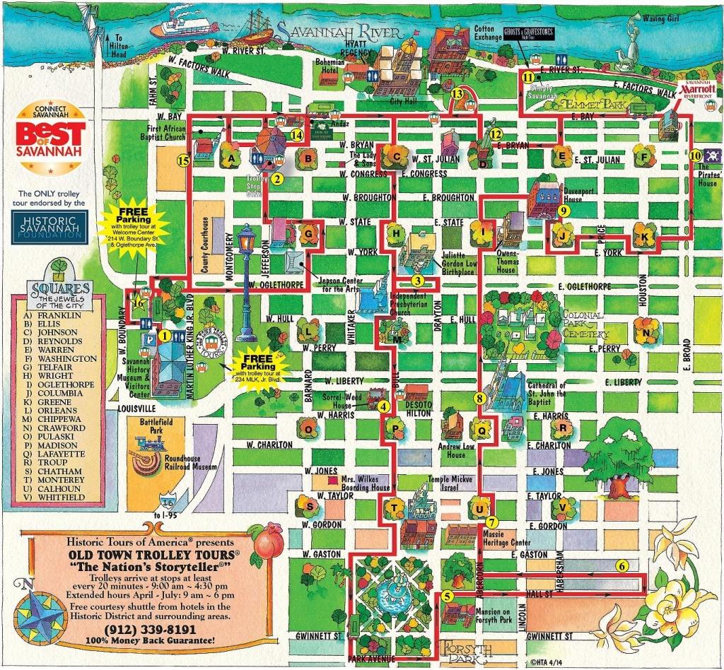 Walking Map Savannah Historic District   Map For Savannah Georgia - Printable Map Of Savannah Ga Historic District