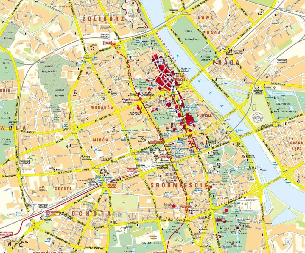 Warsaw Poland Map | D1Softball - Warsaw Tourist Map Printable